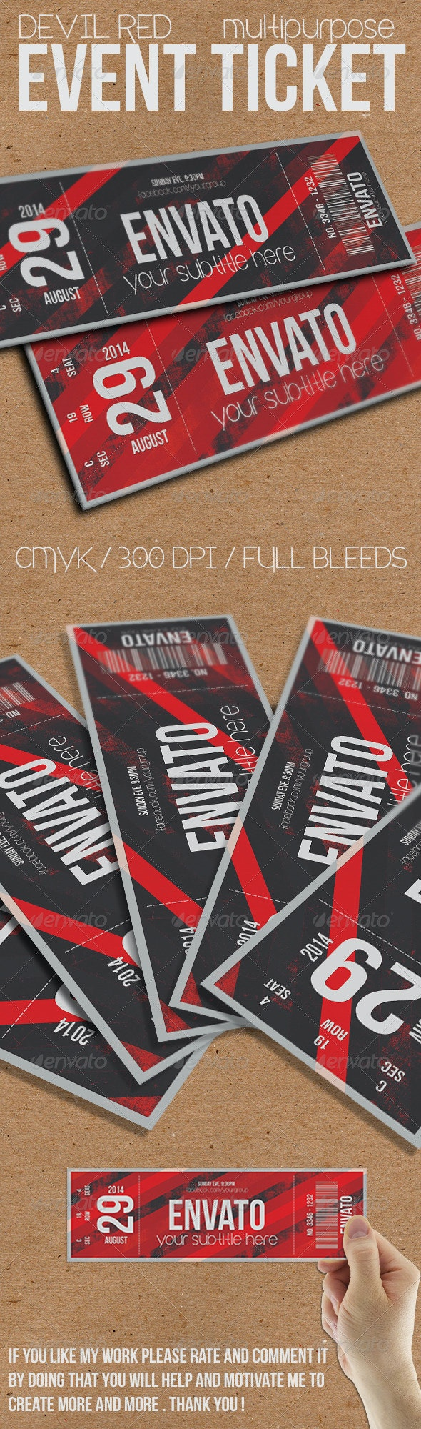 Devil Red - Event ticket - Cards & Invites Print Templates
