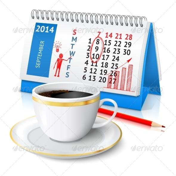 Business Sketch on Calendar