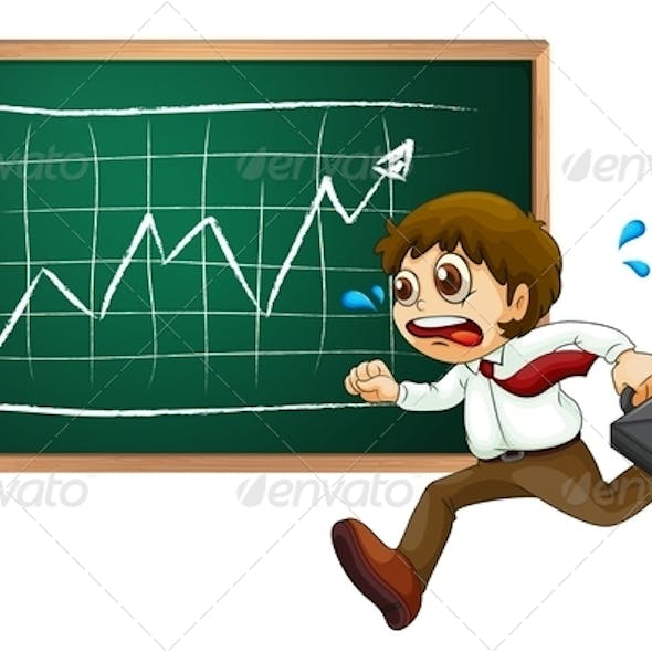 Business Man Running in Front of Board