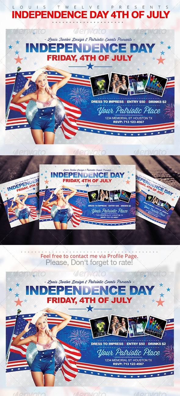 Independence Day 4th of July | Horizontal Flyer - Clubs & Parties Events