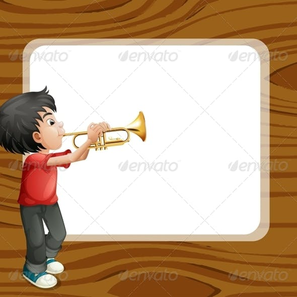 Boy Playing with his Trombone