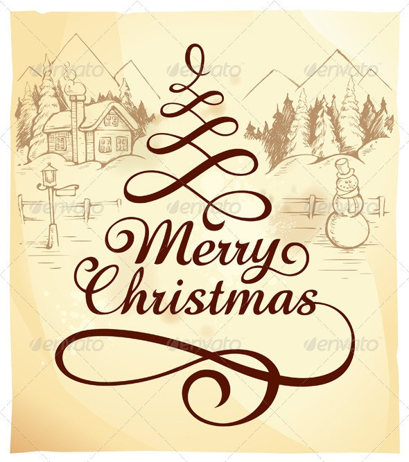 Calligraphic Christmas Lettering - Christmas Seasons/Holidays