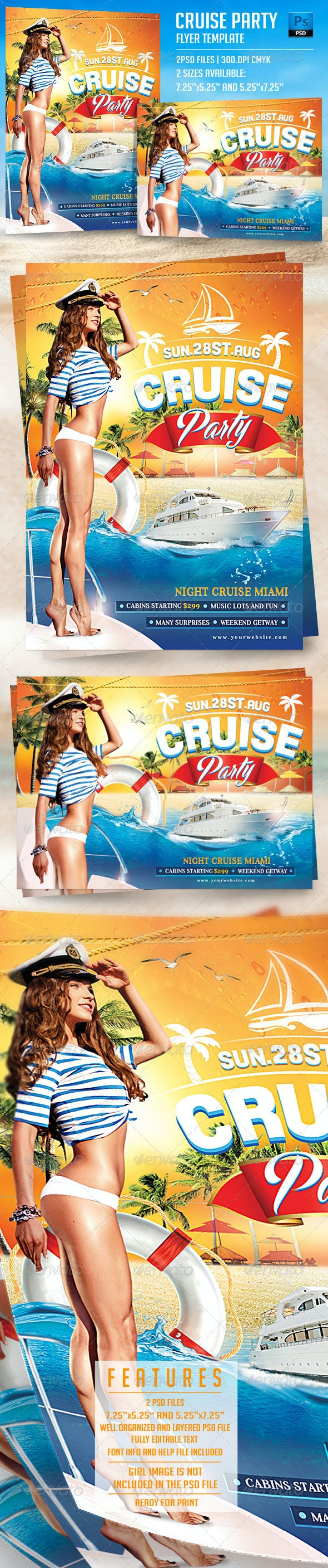 Cruise Party Flyer Template - Flyers Print Templates