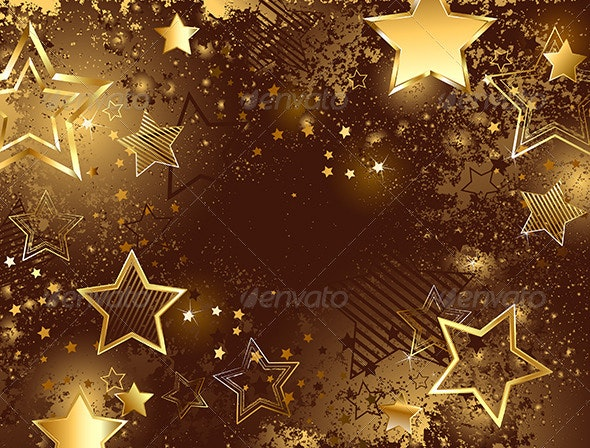 Brown Background with Golden Stars - Backgrounds Decorative