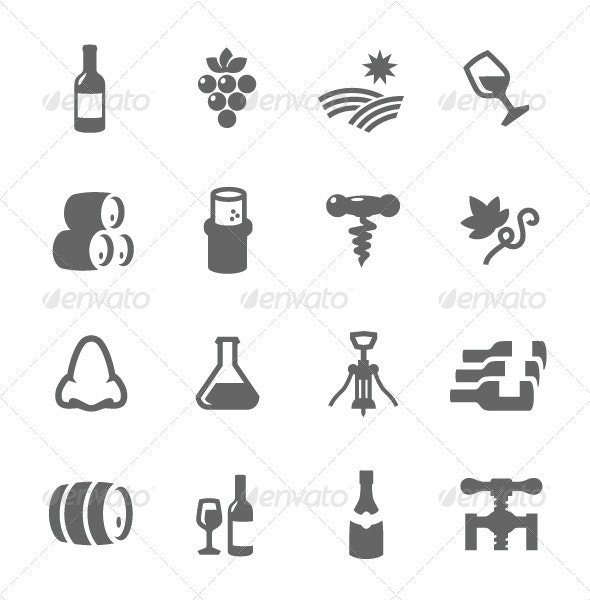 Simple Icon set Related to Wine Production - Food Objects