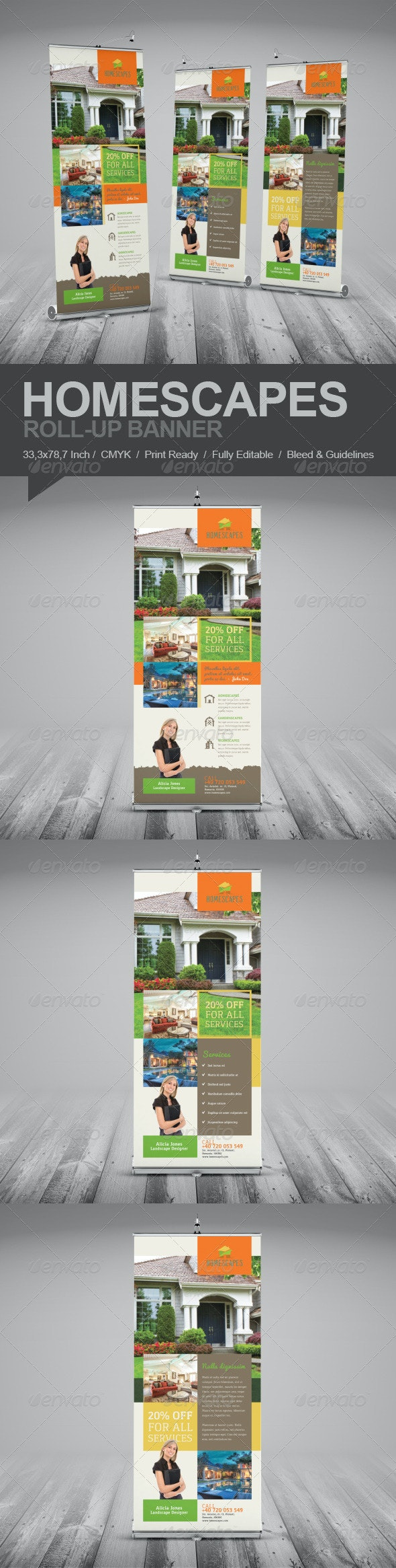 Real Estate And Homescapes Roll-Up Banner - Signage Print Templates