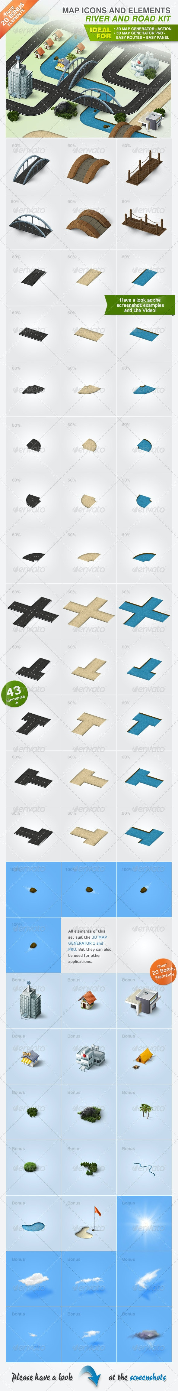 Map Icons and Elements - River and Road Kit - Objects Icons