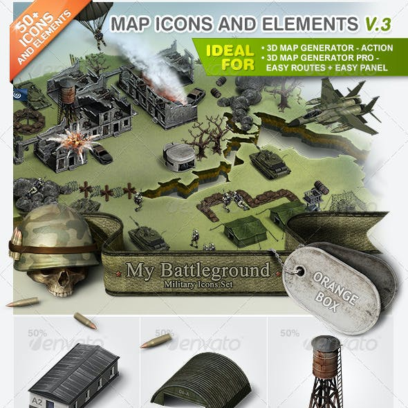 Map Icons and Elements - V.3 Military Set