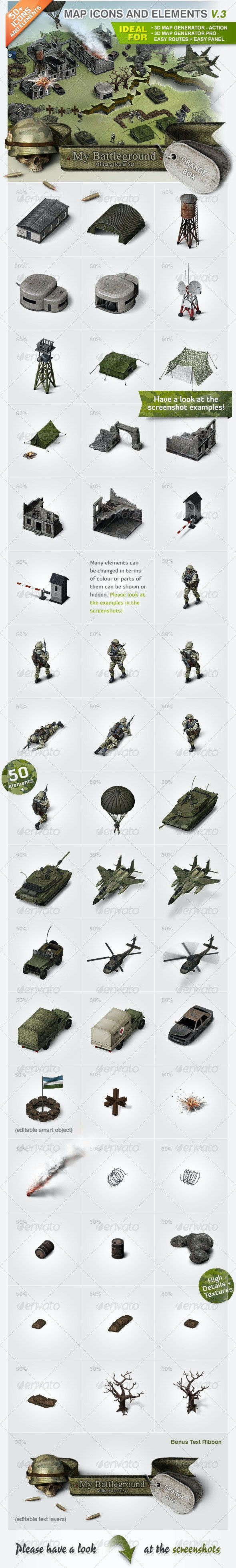 Map Icons and Elements - V.3 Military Set - Miscellaneous Icons