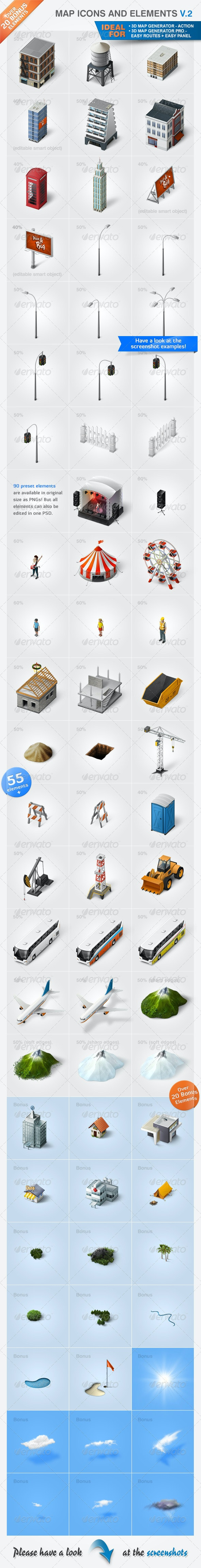 Map Icons and Elements - V.2 - Miscellaneous Icons