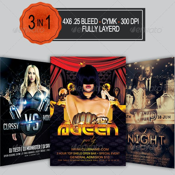 3 in 1 Party Flyer Pack