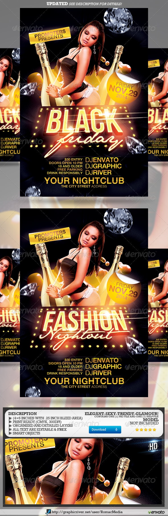 Black Friday Fashion Night-out Party Flyer - Clubs & Parties Events