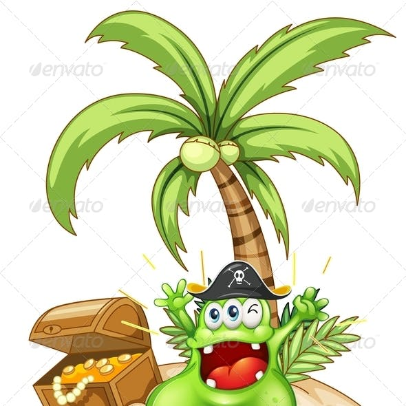 Happy Green Monster in an Island with a Treasure