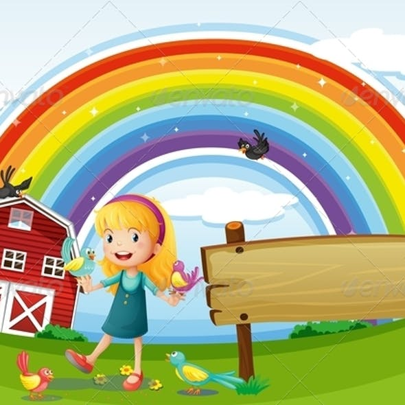 Girl with Empty Sign and Rainbow
