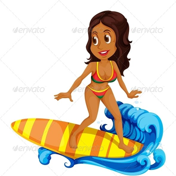 Tanned Girl Surfing