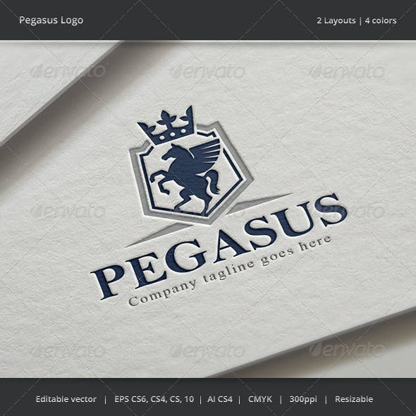 Pegasus Shield Horse Crest Logo