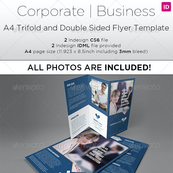 A4 Trifold & Double Side Flyer Template