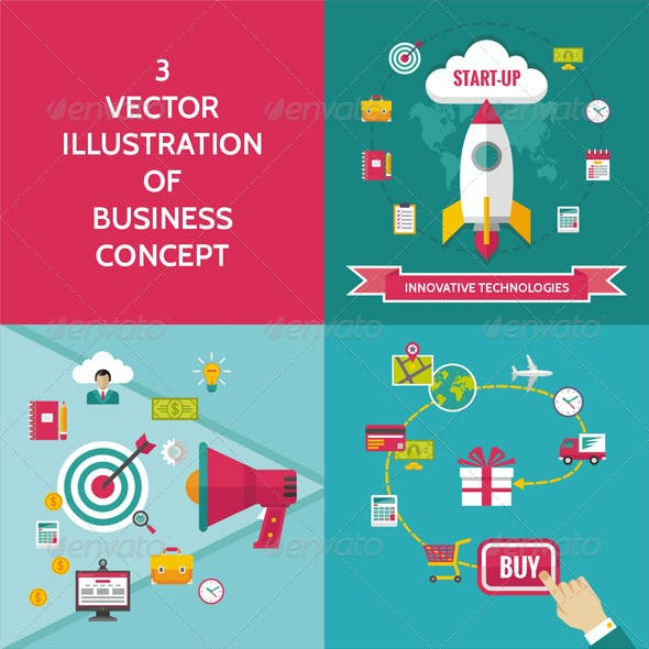 3 Business Concept in Flat Design Style