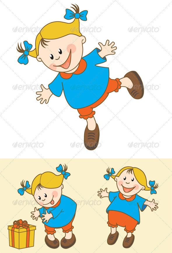 Playful Little Girl - People Characters