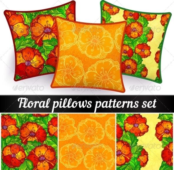 Floral Pillows Vector Seamless Patterns Set - Flowers & Plants Nature