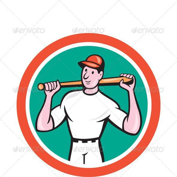 Baseball Player Holding Bat Cartoon
