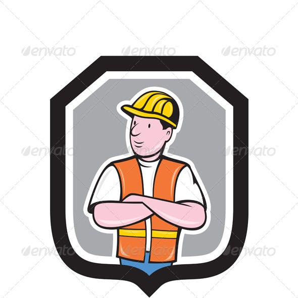 Construction Worker Arms Crossed Shield Cartoon