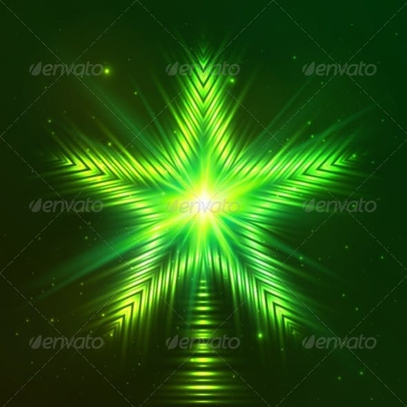 Green Shining Five-Pointed Star