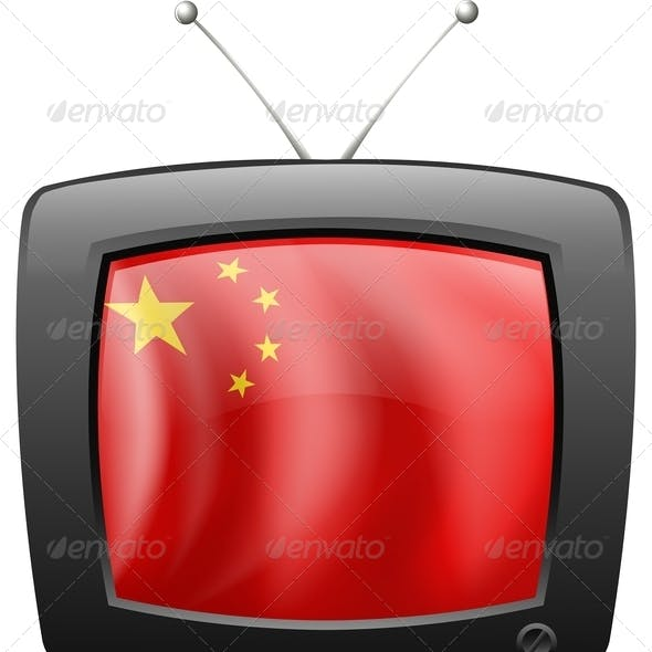A TV with the Flag of China