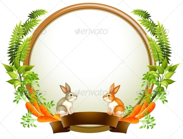 An Empty Round Templates with Plants and Animals - Backgrounds Decorative