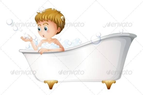A Boy Playing at the Bathtub While Taking a Bath - People Characters