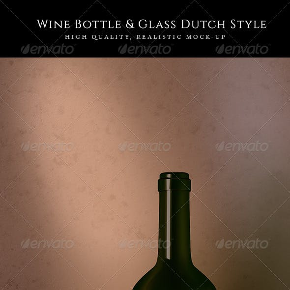 Wine Bottle, Glass and Knife Mock-Up Dutch Style