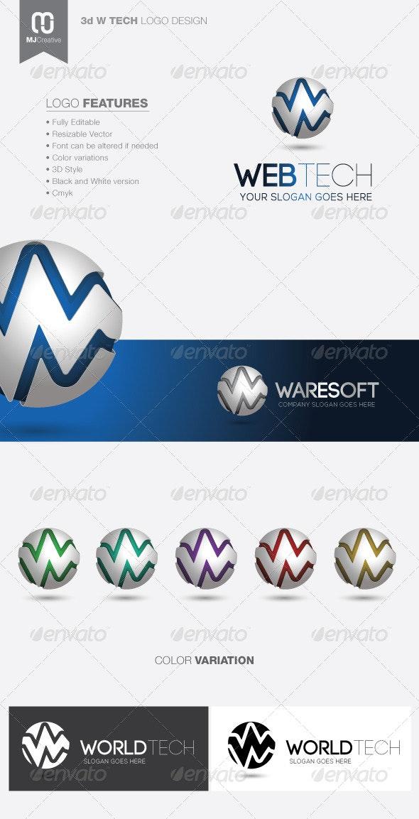 W Tech 3D Logo