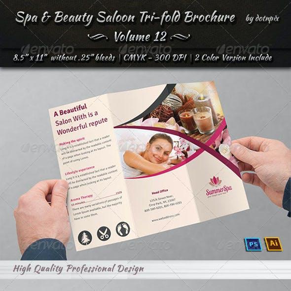 Spa & Beauty Saloon Tri-fold Brochure   Volume 12