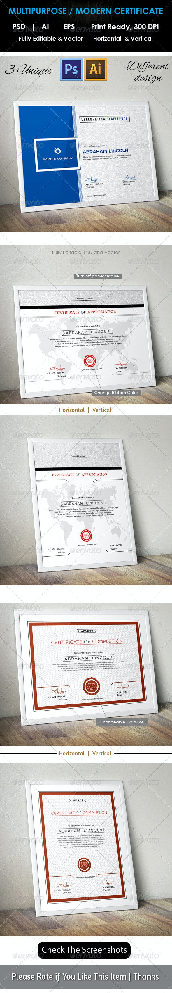 3 Design Multipurpose Certificate GD009 - Certificates Stationery