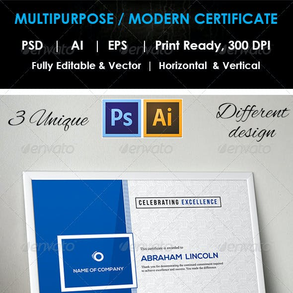 3 Design Multipurpose Certificate GD009