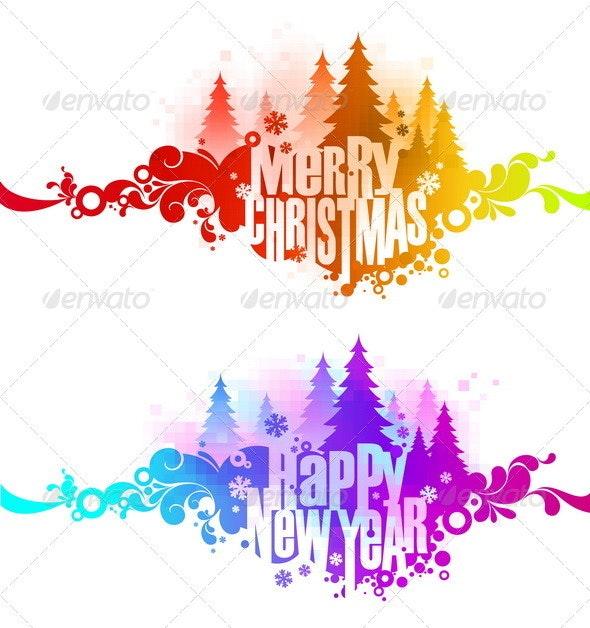 Christmas Ornate Colorful Greetings - Seasons/Holidays Conceptual