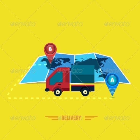 Delivery Service. Cargo Truck Symbol