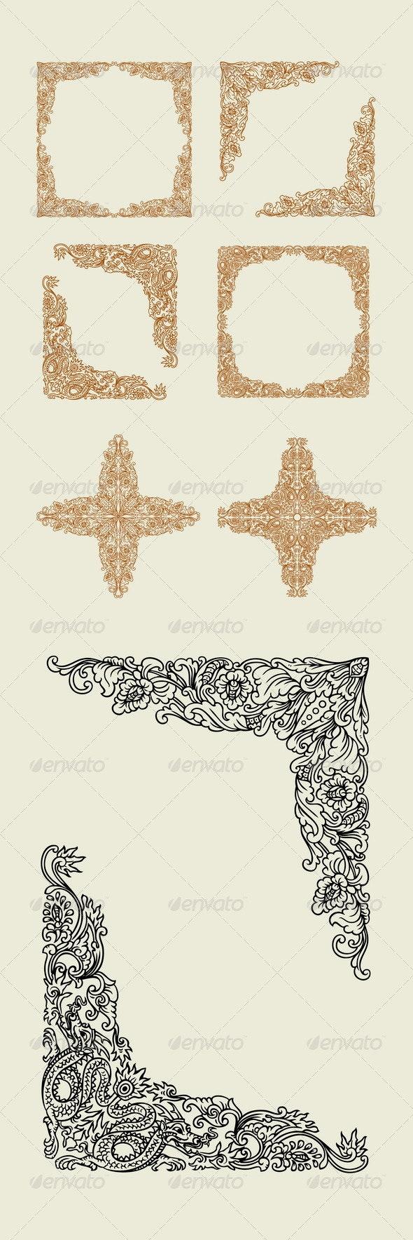 Dragon and Floral Decoration - Flourishes / Swirls Decorative