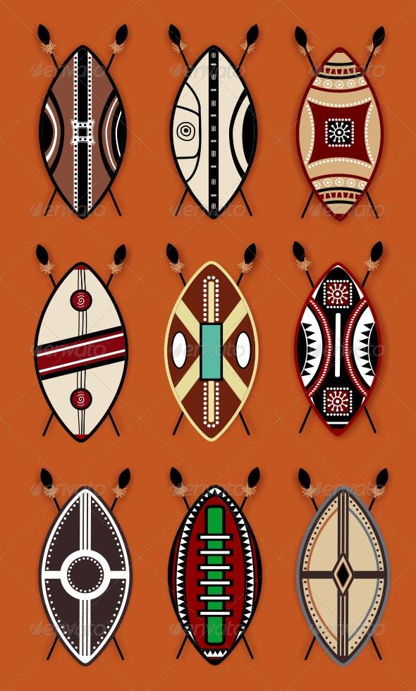 Masai Shield Vector Designs by ragerabbit   GraphicRiver