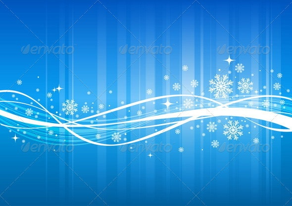 Blue Winter Background With Abstract Wave - Seasons/Holidays Conceptual