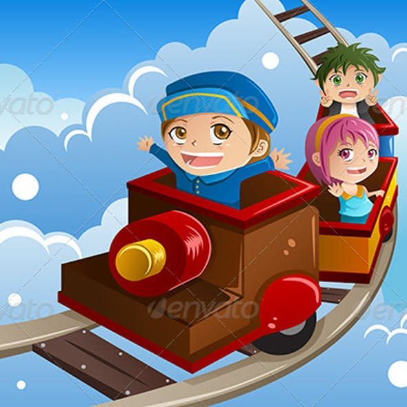 Kids Riding a Train