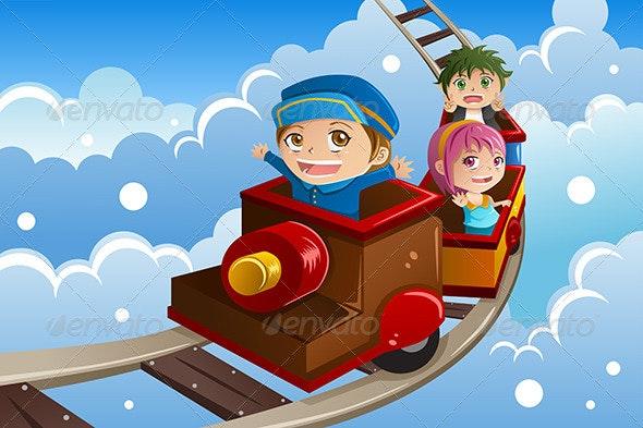 Kids Riding a Train - Sports/Activity Conceptual