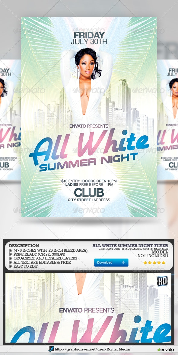 All White Summer Night Party Flyer - Clubs & Parties Events