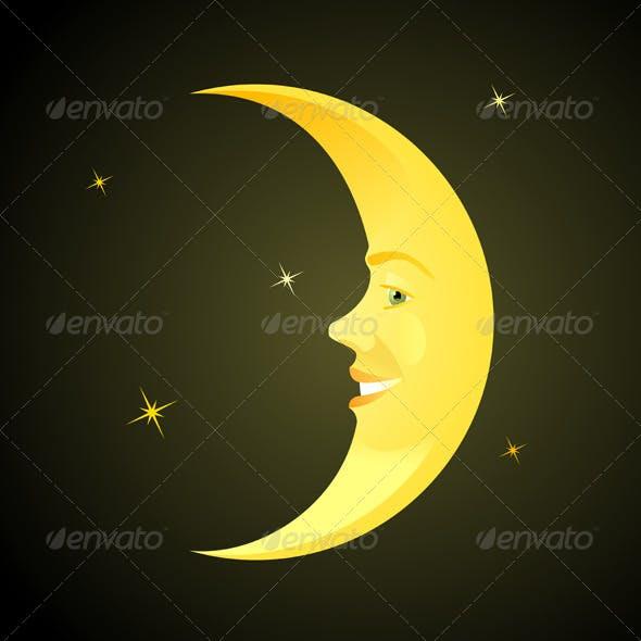 Cartoon Moon Sleeping Time