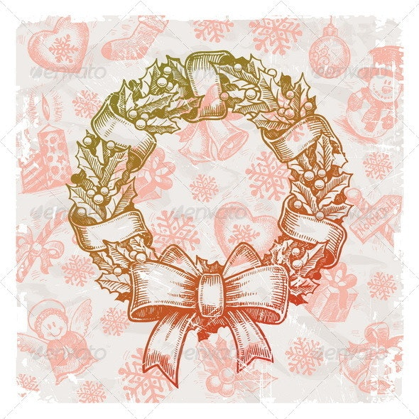 Christmas Hand Drawn Illustration With Wreath - Christmas Seasons/Holidays