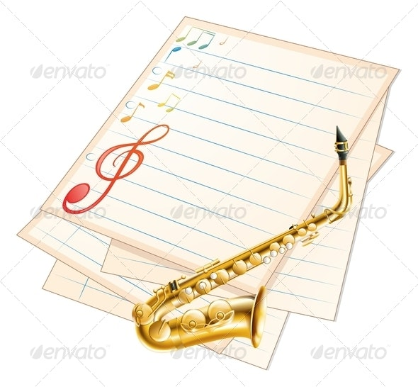 Musical Paper with Saxophone - Decorative Vectors