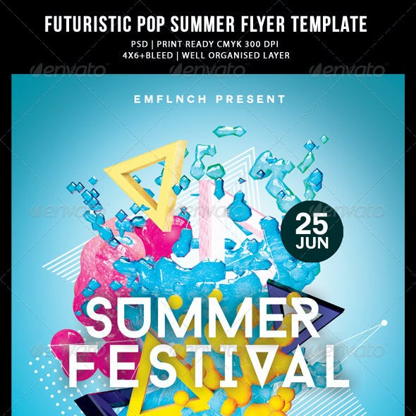 Futuristic Abstract Pop Summer Flyer Templates