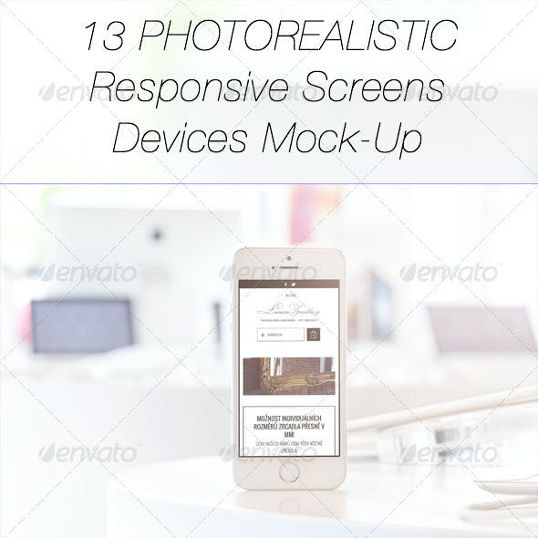 13 Photorealistic Responsive Devices Mock-Up