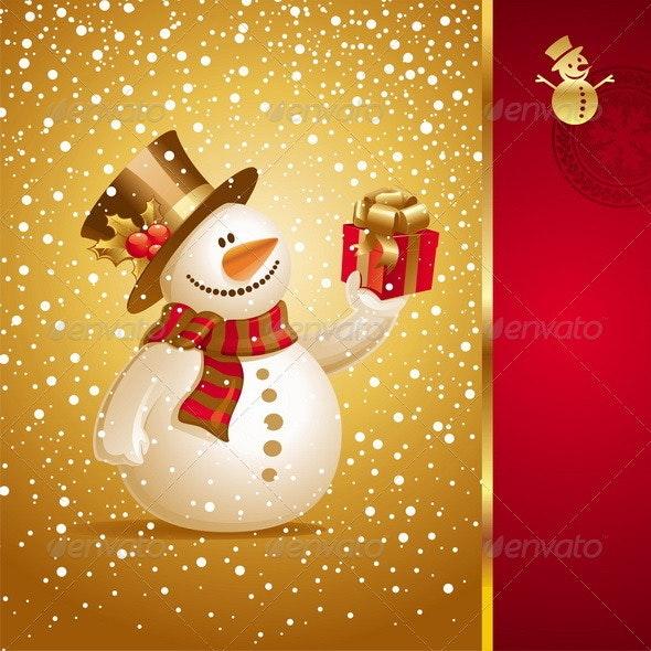 Christmas Design - Snowman With Gift - Christmas Seasons/Holidays