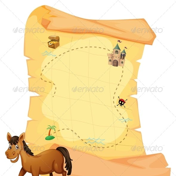 Horse in front of Treasure Map